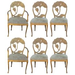 Gold Dining Chairs Slipcovers For Parsons Set Of Six Modern Italian Art Nouveau Floral Back Sale