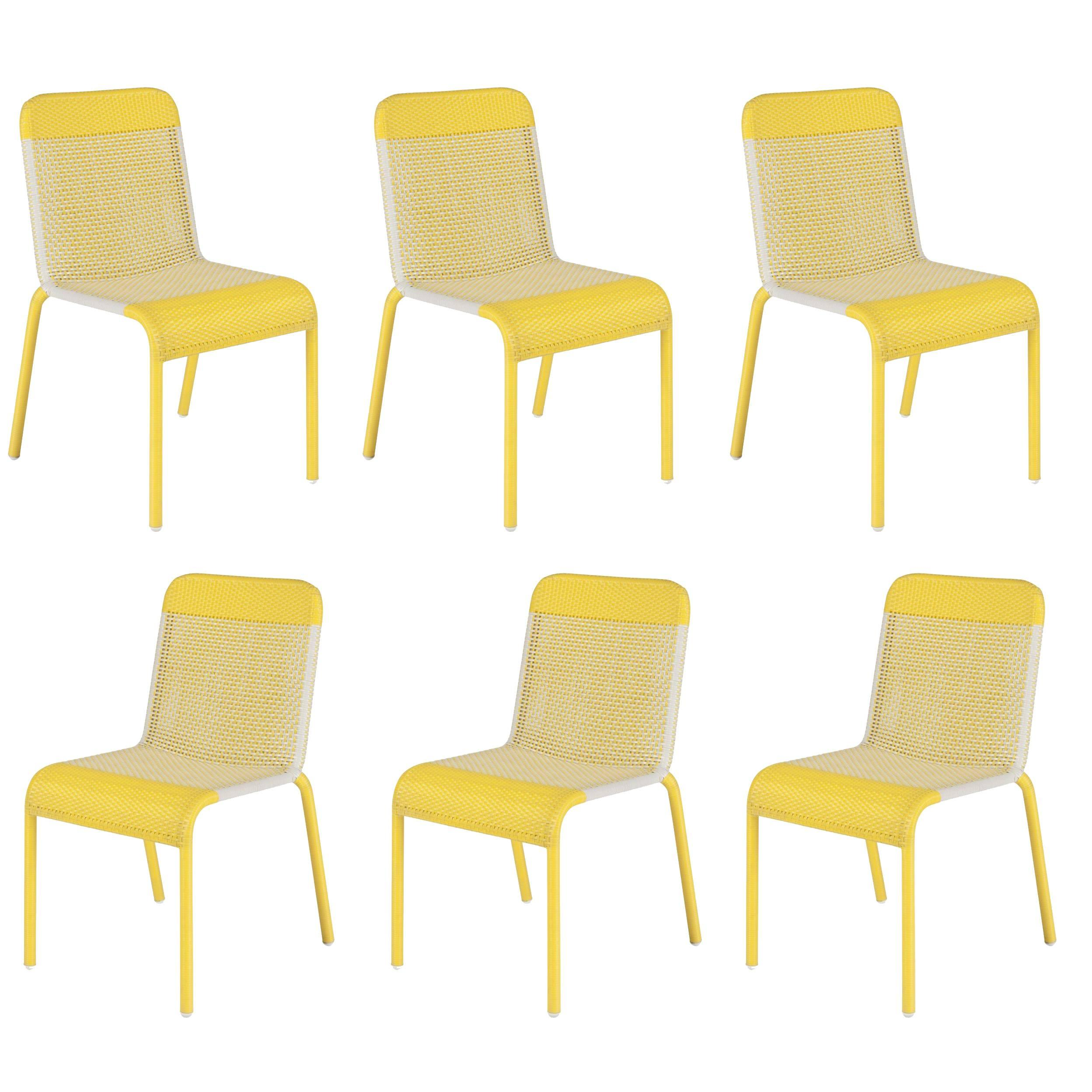 Resin Chairs Set Of Six Yellow Resin Stackable Chairs