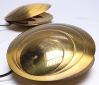 Set of Three Angelo Brotto Brass Clam Shell Table Lamps ...