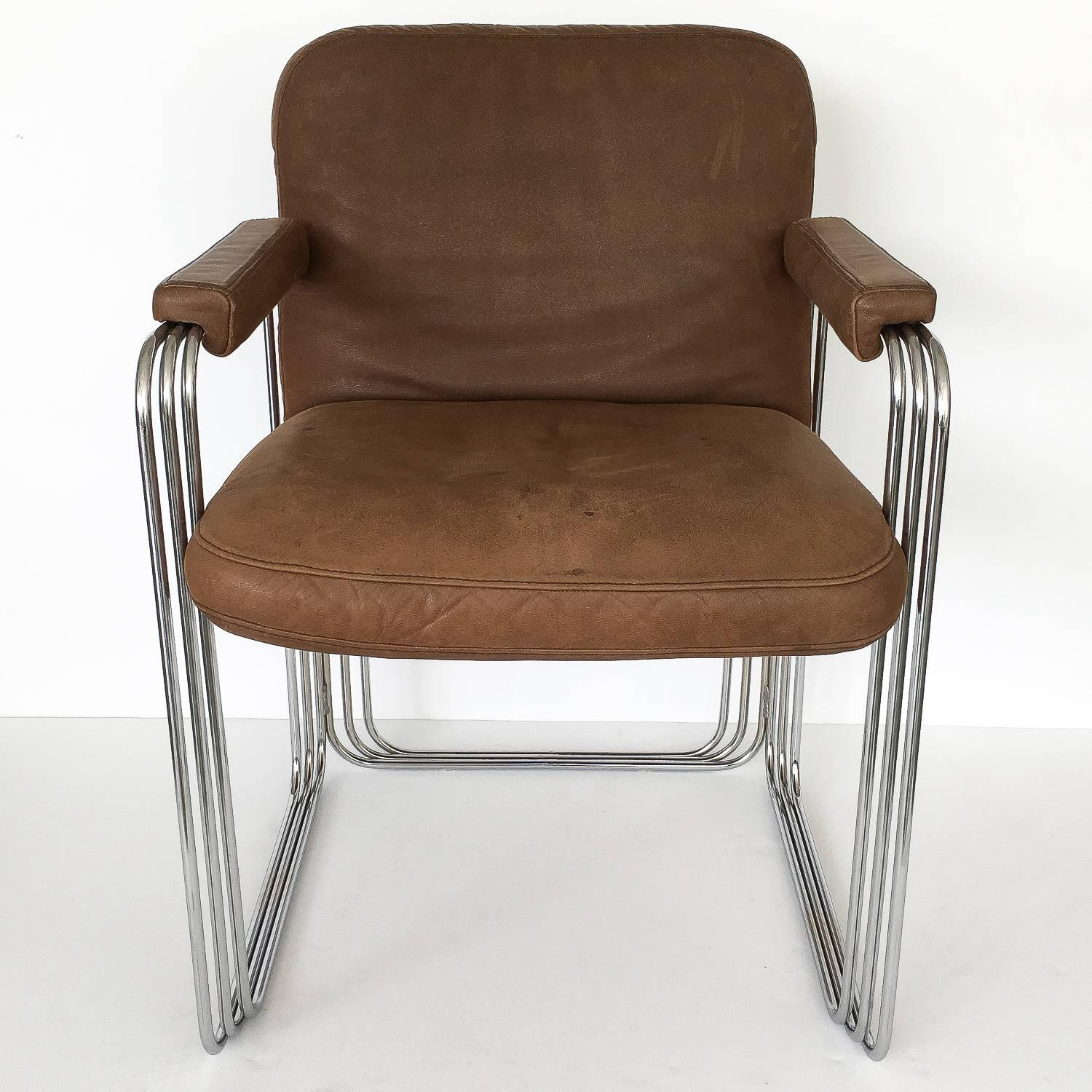 metal frame leather dining chair mesh office costco set six chrome and chairs attributed to pace at 1stdibs of unique brown armchairs circa 1970s these