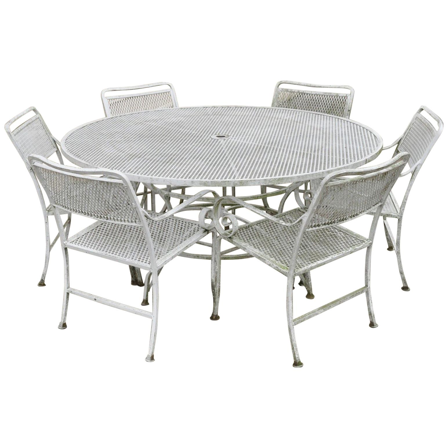 seven piece cast aluminium scroll arm metal patio dining set table six chairs