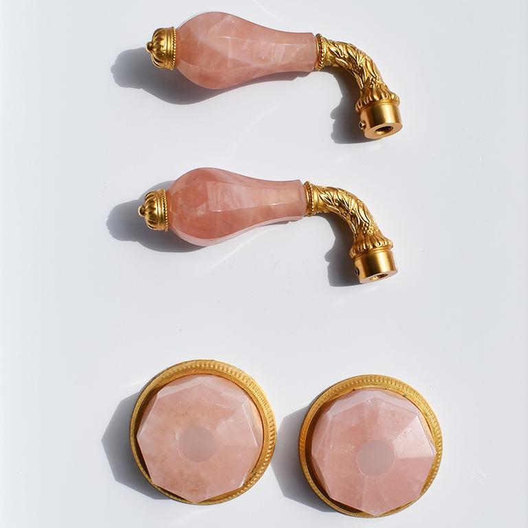 sherle wagner rose quartz and gold bathroom fixtures faucet handles