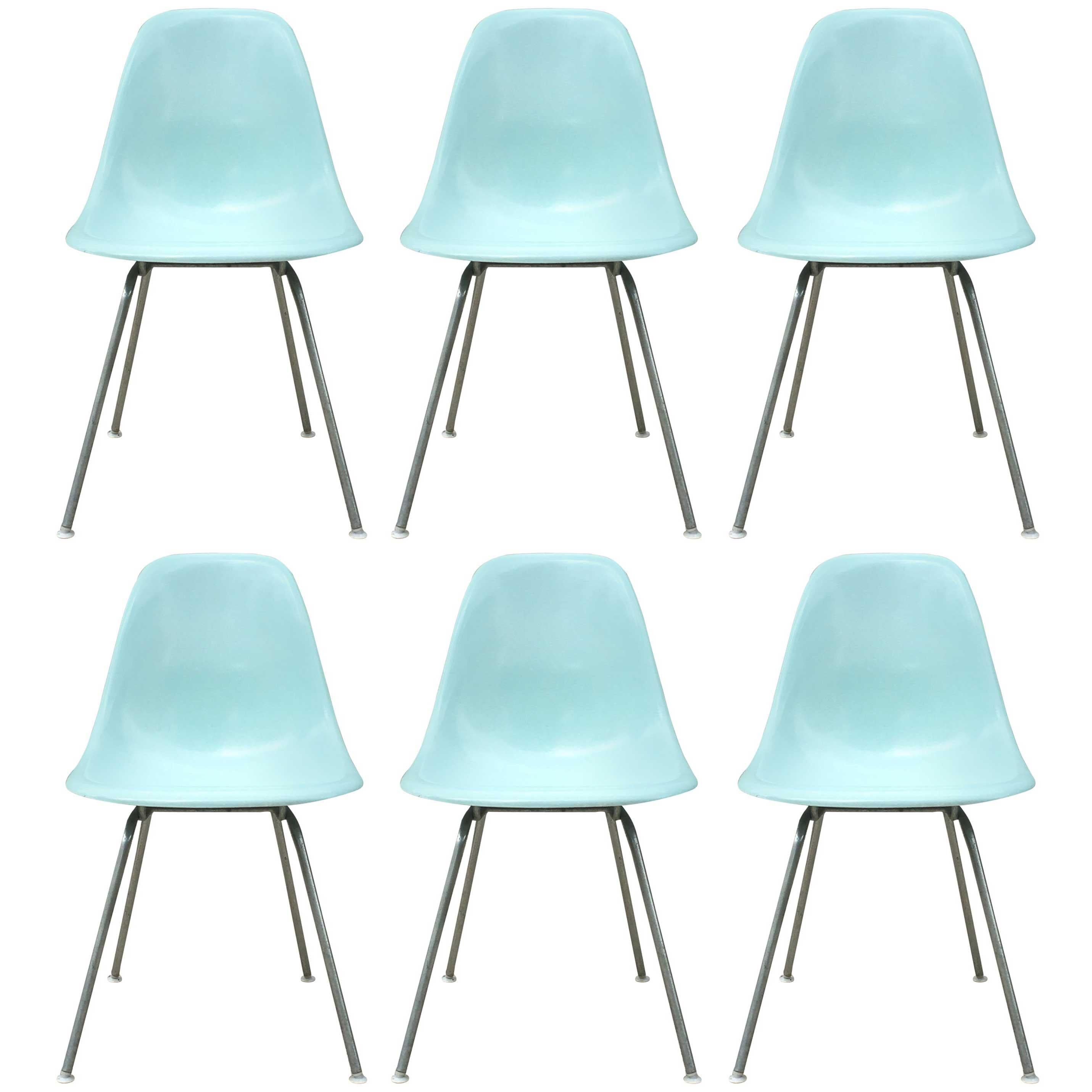 Blue Dining Chairs Six Herman Miller Eames Robin S Egg Blue Dining Chairs