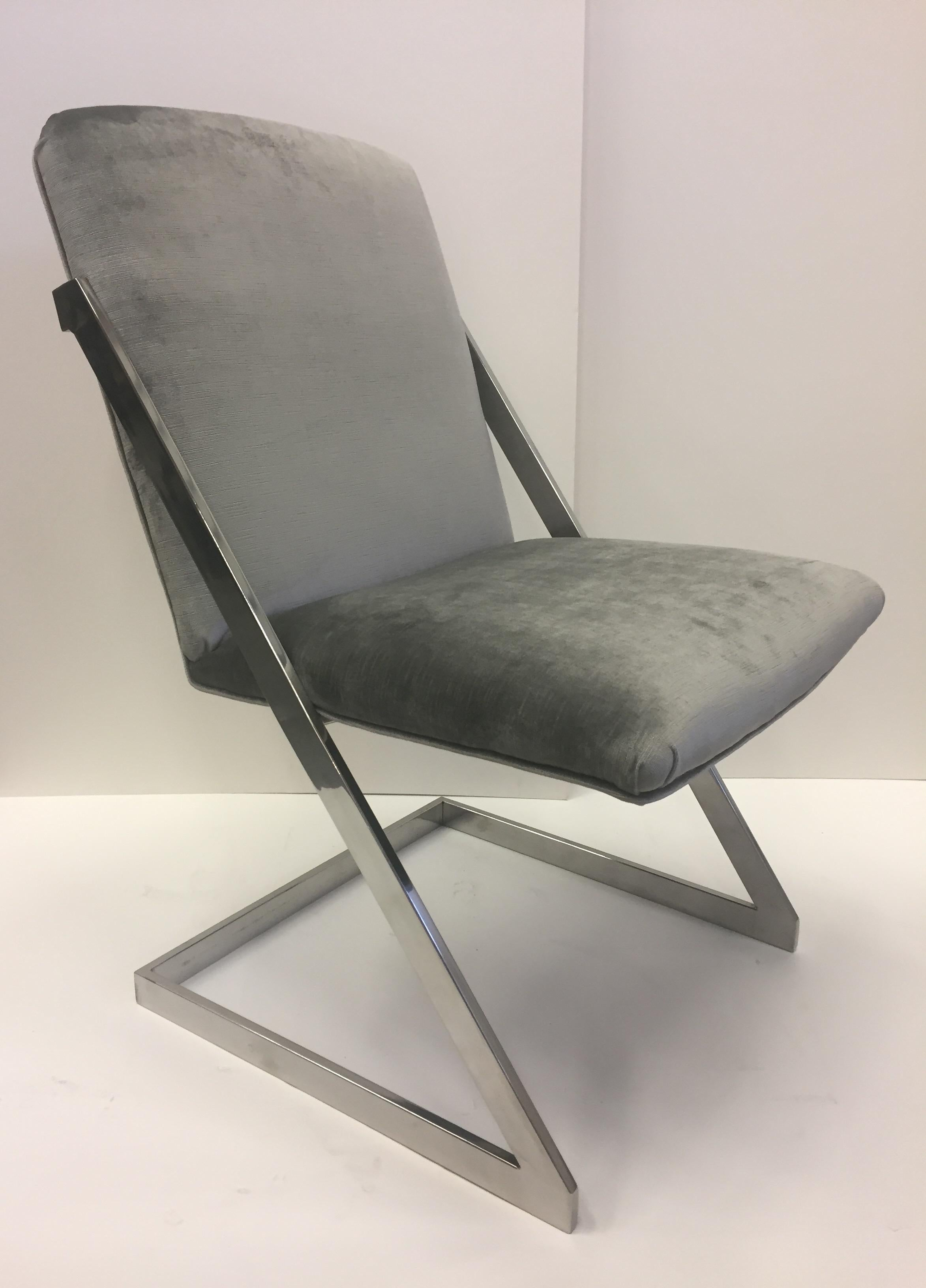 Sleek Pair Of Mid Century Modern Chrome And Gray Silk Velvet Club Chairs