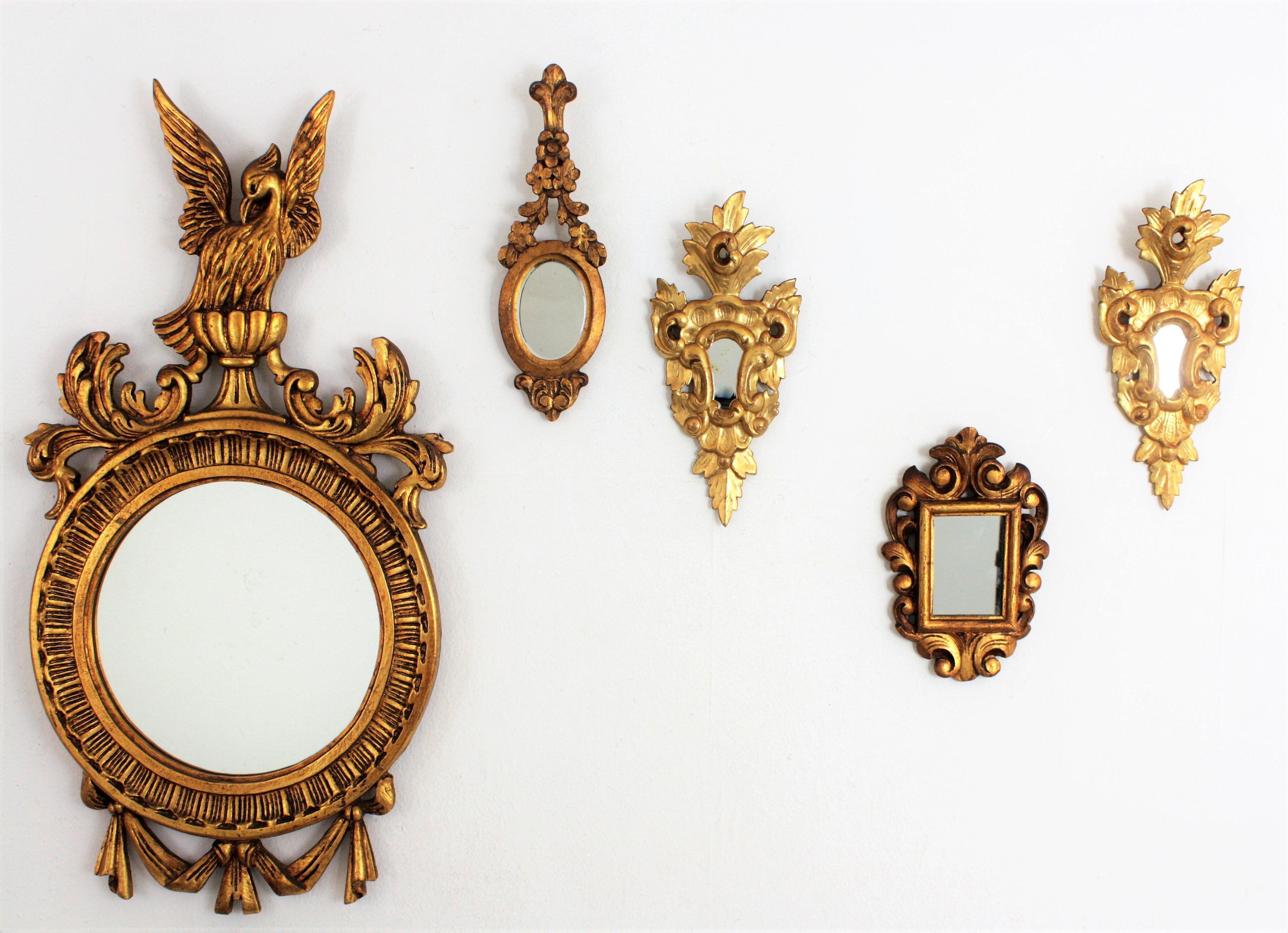 Small Spanish 1930s Renaissance Style Carved Giltwood