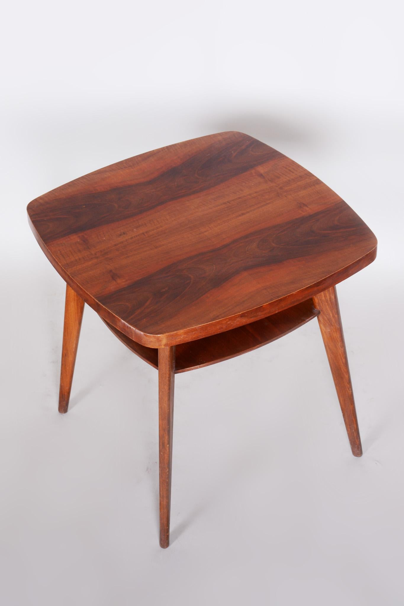 small walnut coffee table czech midcentury preserved original condition 1950s