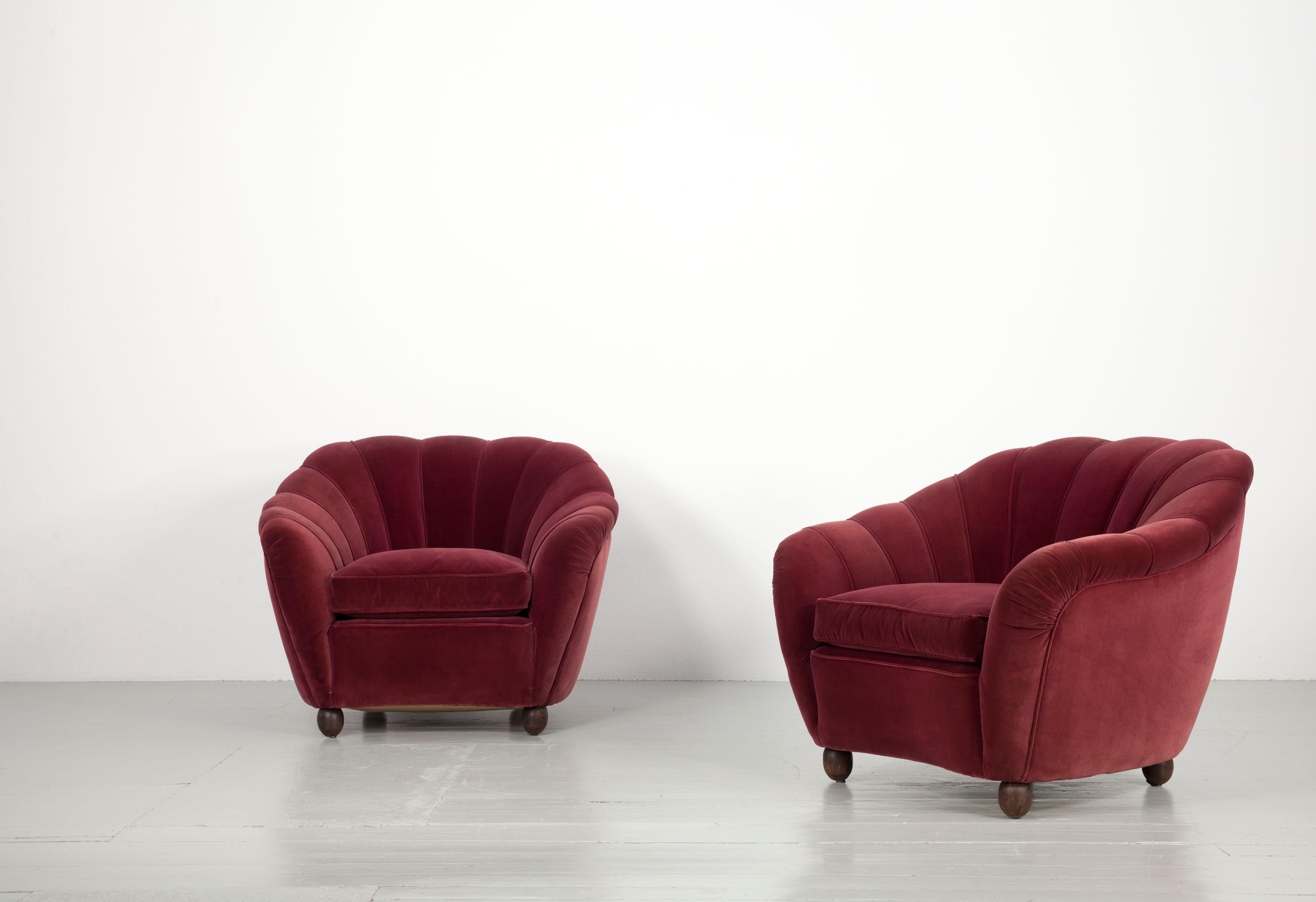 Container furniture direct matte velvet mid century modern tufted living room sofa, 71.7, dark red. Italian Set of a Massive Sofa and Two Armchairs in Dark ...