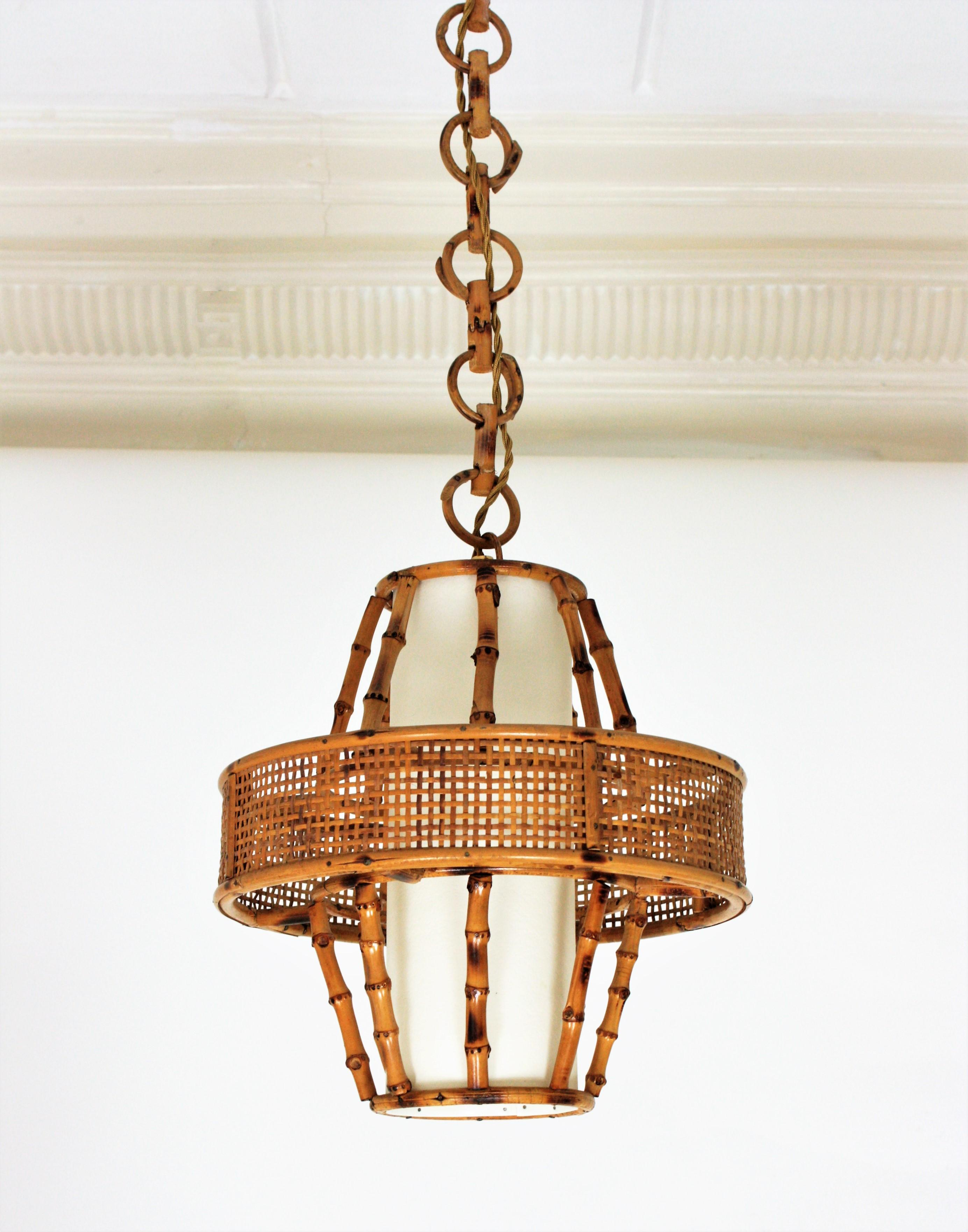 spanish modern wicker wire rattan bamboo conic pendant lamp with tiki accents