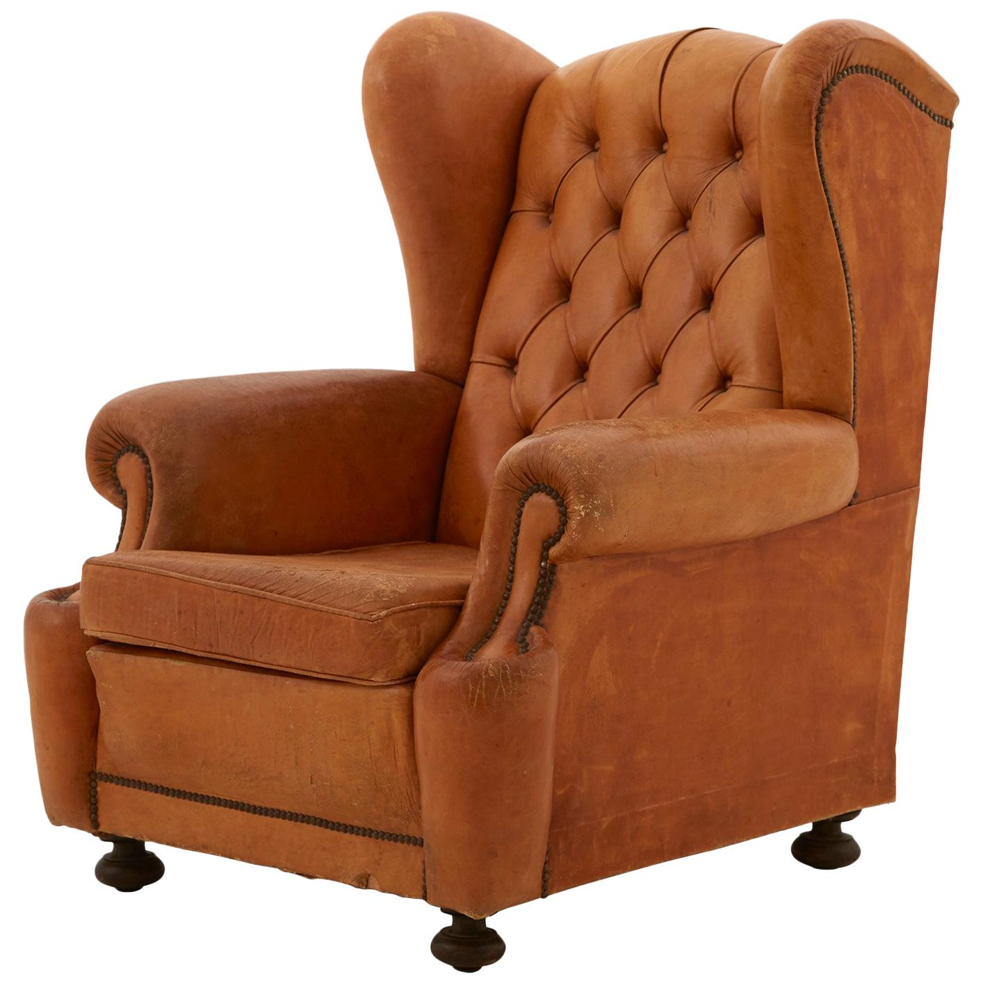 Brown Leather Wingback Chair Spanish Tufted Leather Wingback Chair