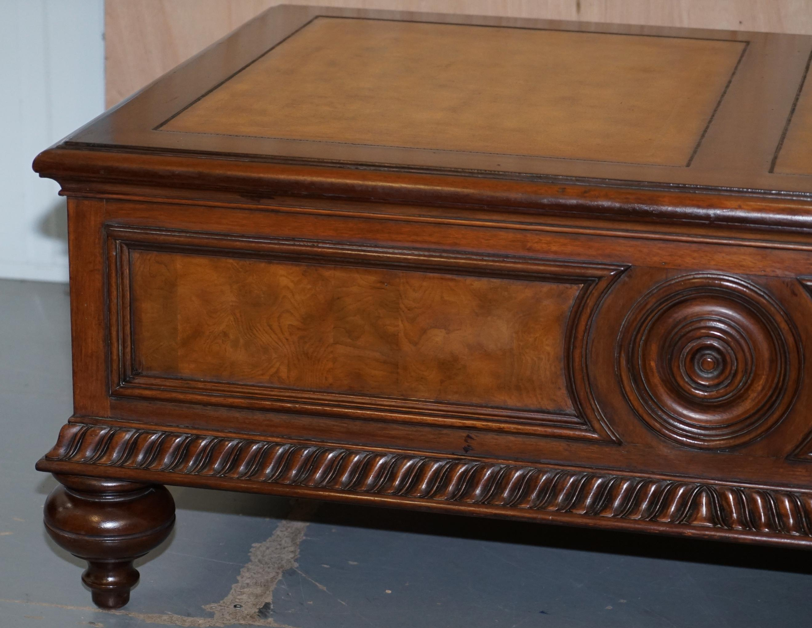 stunning burr elm ethan allen morley coffee table with brown leather top drawers