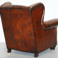 Bernhardt Brown Leather Club Chair Swing Price Stunning Restored Thick Armchair And Footstool For Sale 3