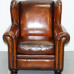 Bernhardt Brown Leather Club Chair Small Bathroom Chairs Design Stunning Restored Thick Armchair And Modern Footstool For Sale
