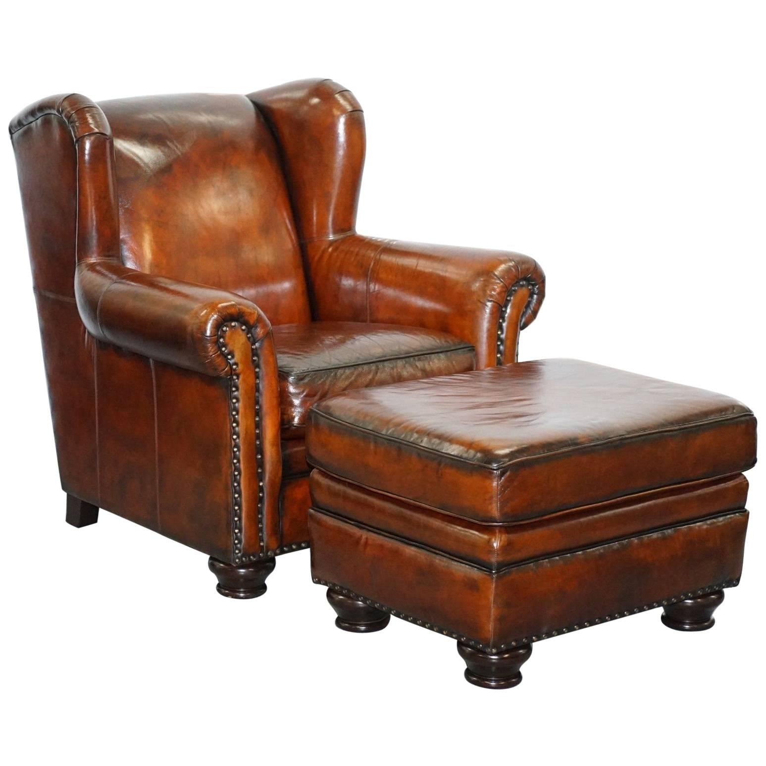bernhardt brown leather club chair red side stunning restored thick armchair and footstool for sale