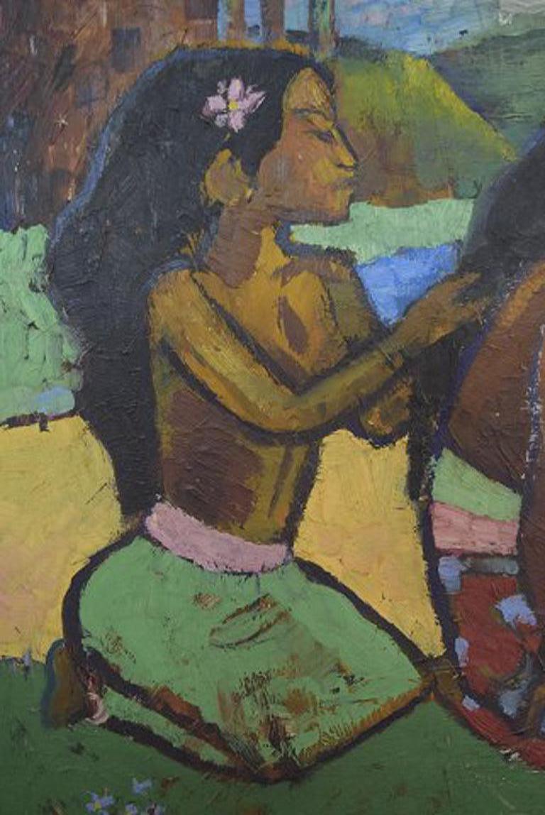 Swedish Artist. Paul Gauguin Style. Tahiti Women Traditionally Dressed at 1stdibs