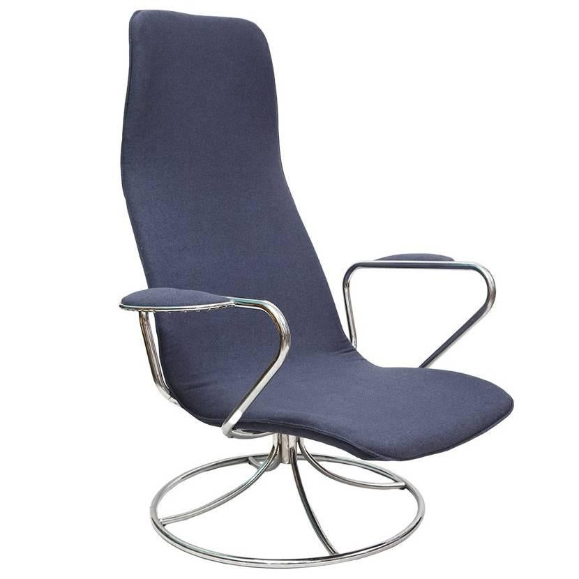 ikea swivel chair swing with stand ebay from chrome and navy blue sweden 1980s for sale