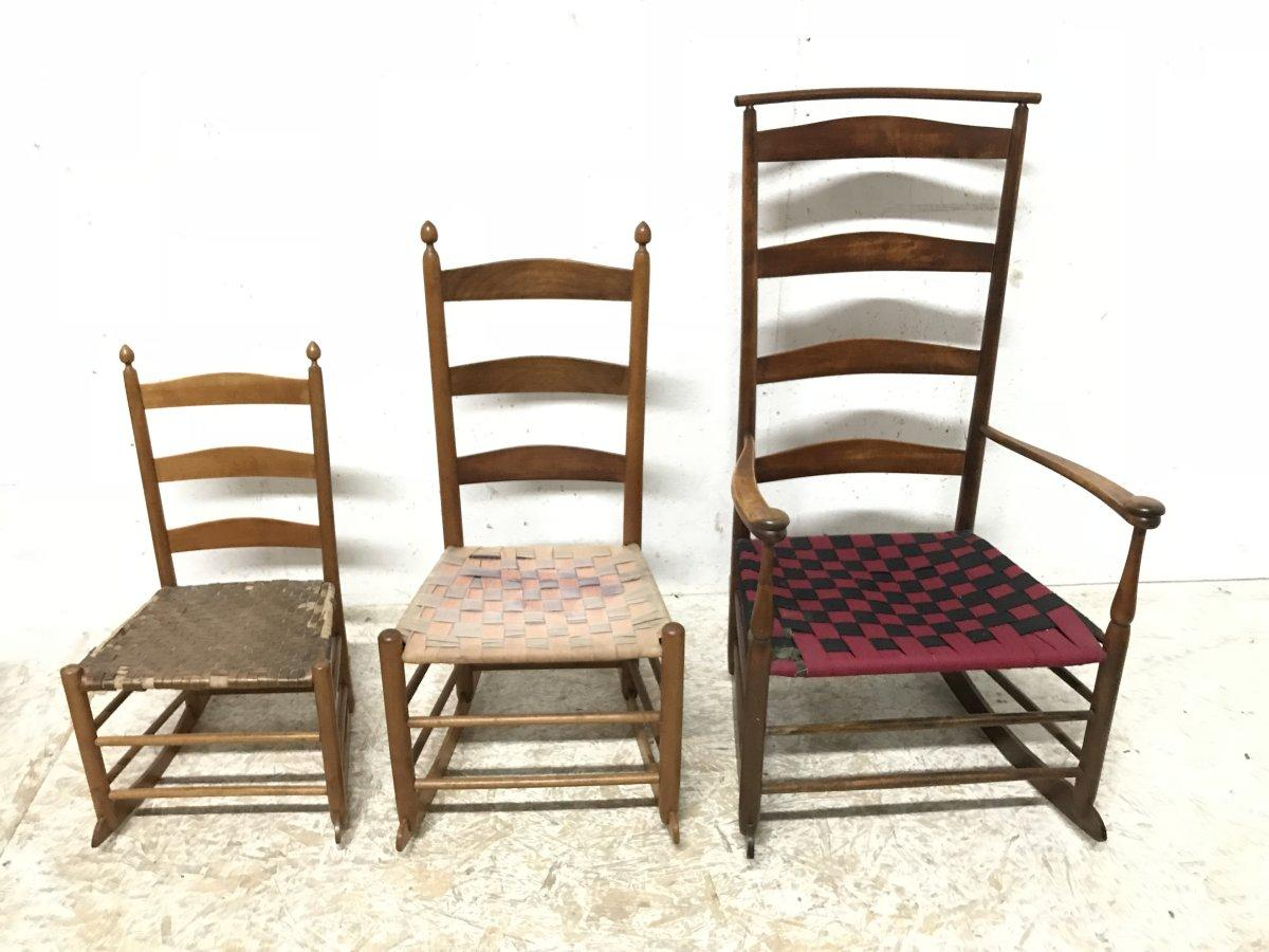 shaker ladder back chair alec wing three american maple rocking chairs from mt a rare set of all came