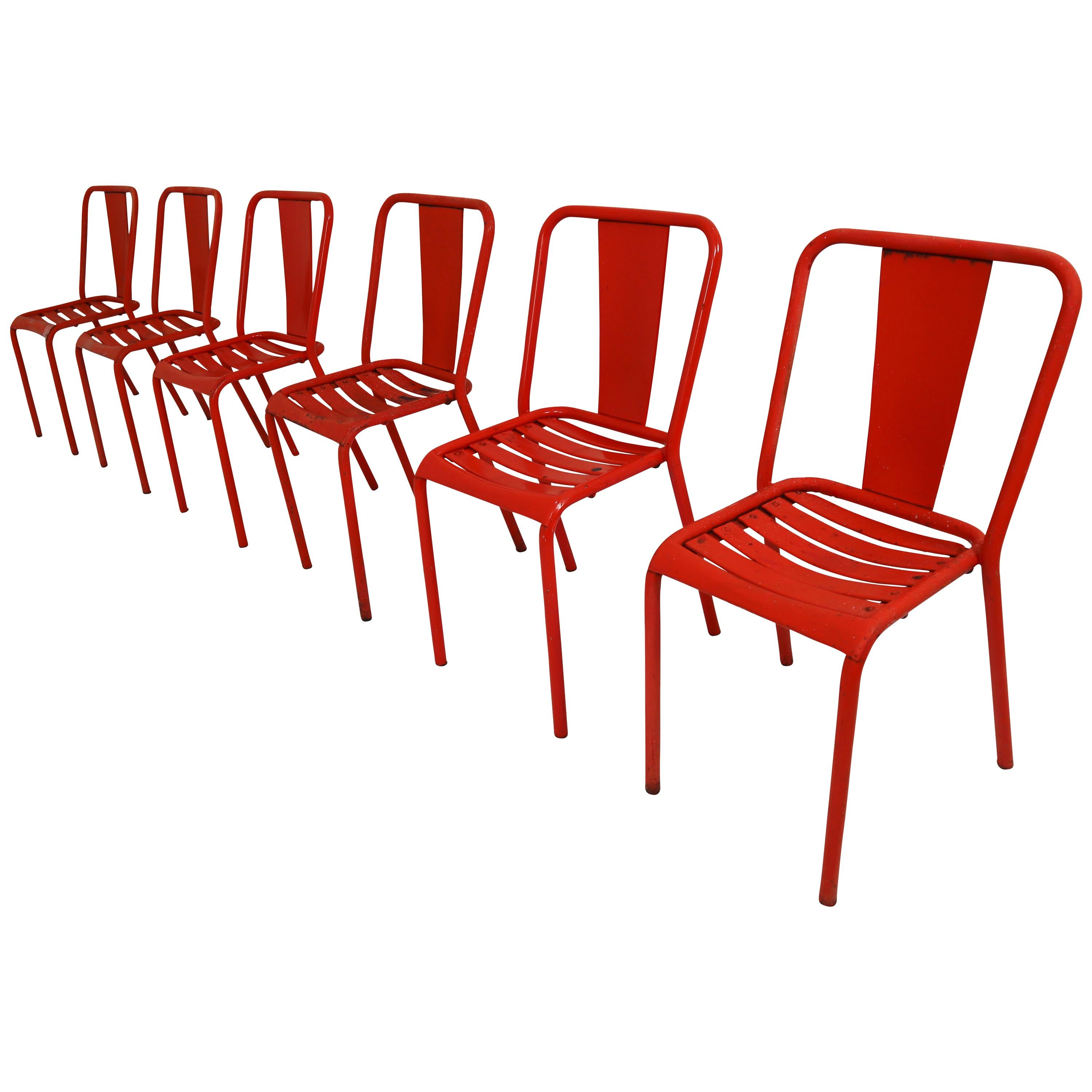 red chairs for sale wingback chair ikea tolix t4 metal set of six by designer xavier pauchard 1950s