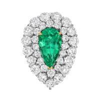 Natural Colombian Emerald Pear Shape Ring Diamond Platinum ...