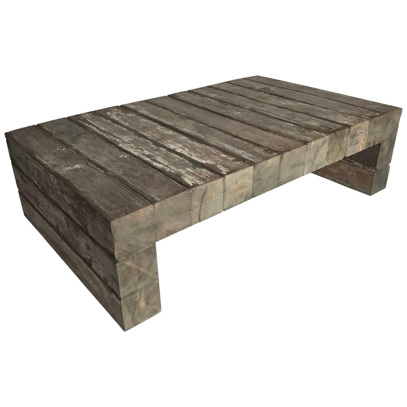 very rustic reclaimed wood coffee table