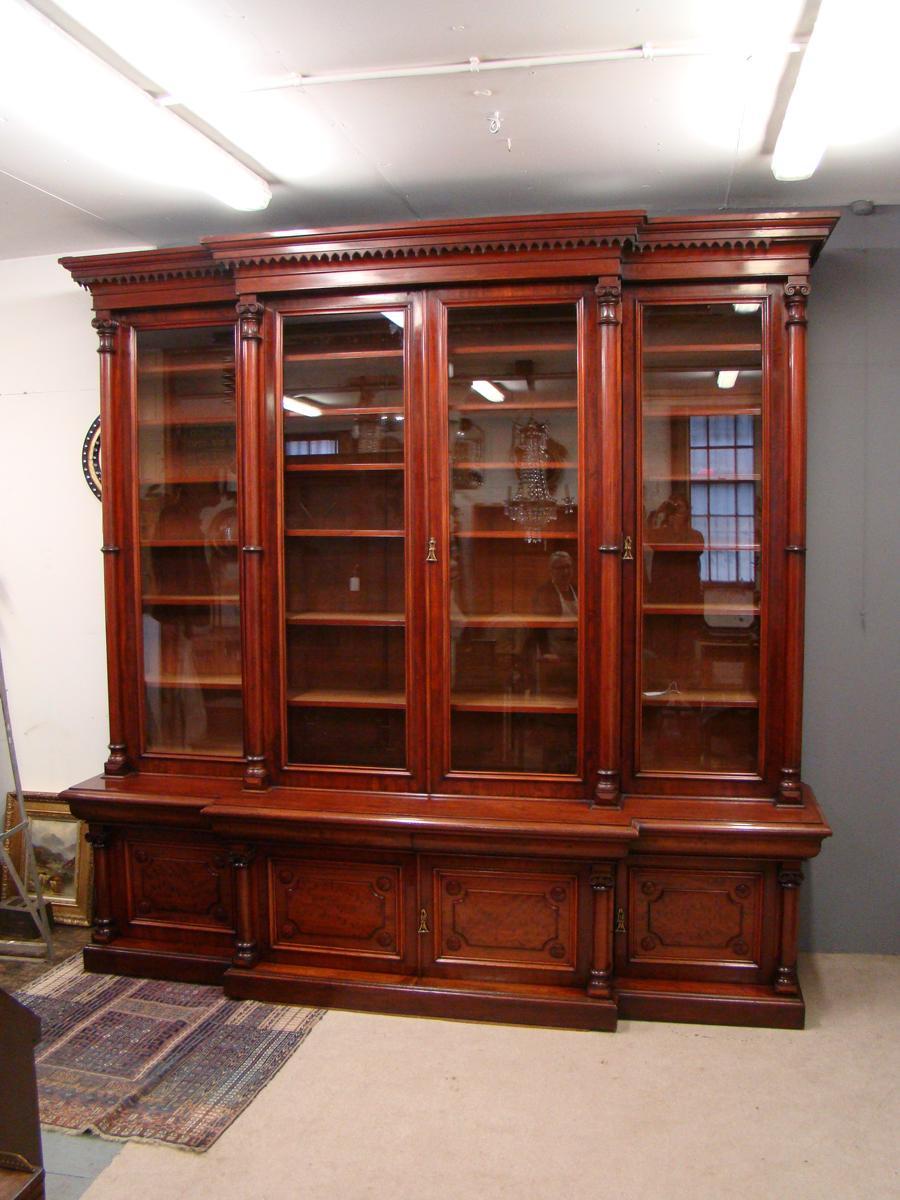 Victorian 2 Door Breakfront Mahogany Bookcase By Fras Jas Smith Glasgow