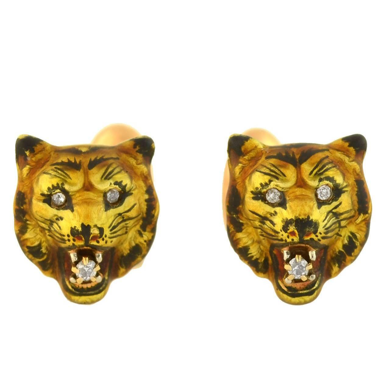 victorian diamond enameled tiger