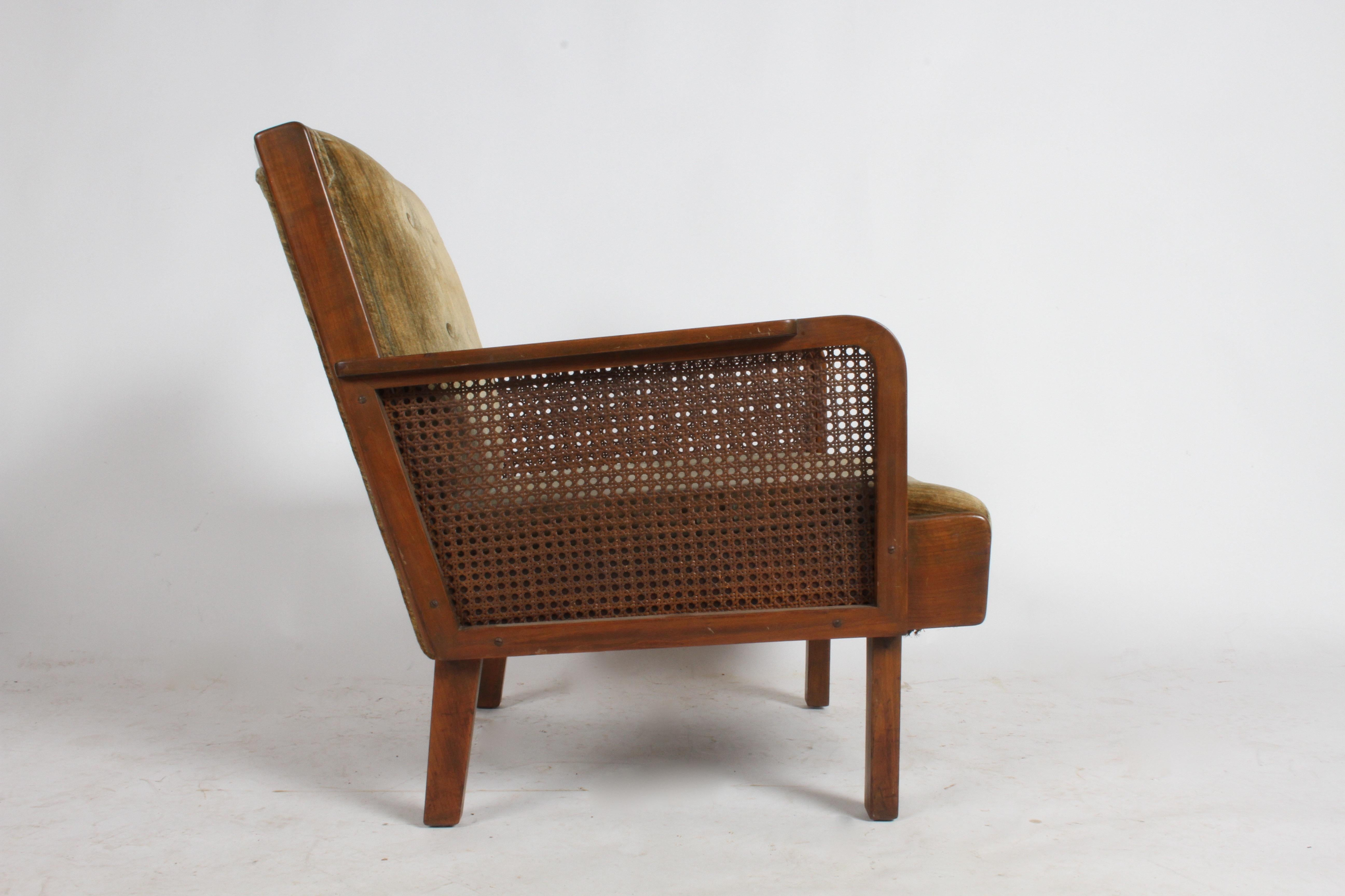 Vienna Secession Club Chair With Caned Panels For Sale At