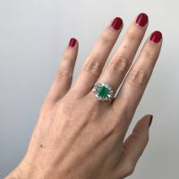 Vintage 1.80 Carat Colombian Emerald Diamond Gold Ring For ...