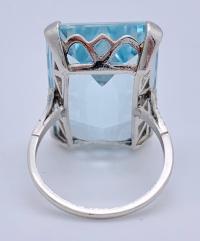 Vintage Aquamarine Diamond White Gold Cocktail Ring For ...