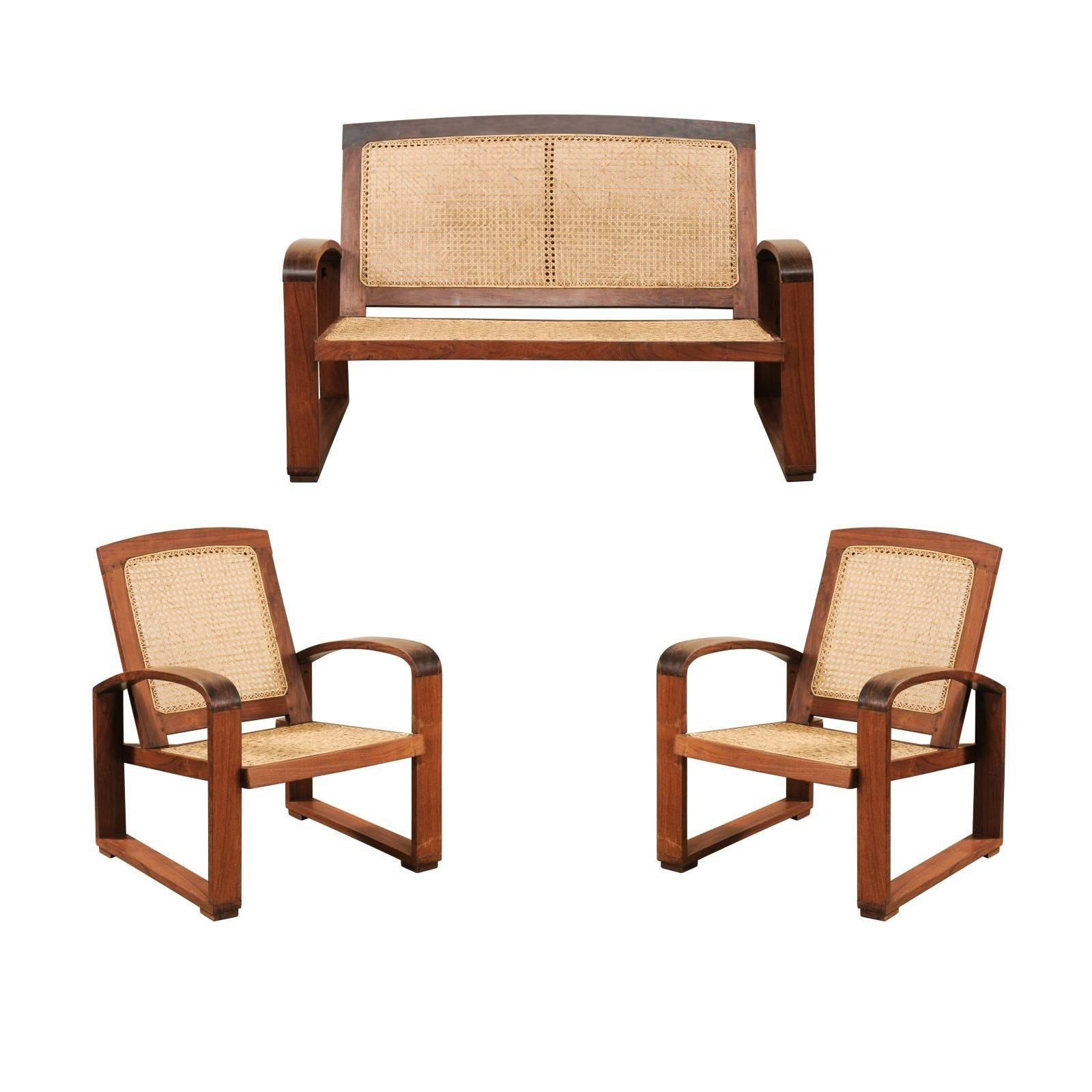british colonial chair fisher price portable high vintage cane and wood 3 piece seating set with chairs loveseat for