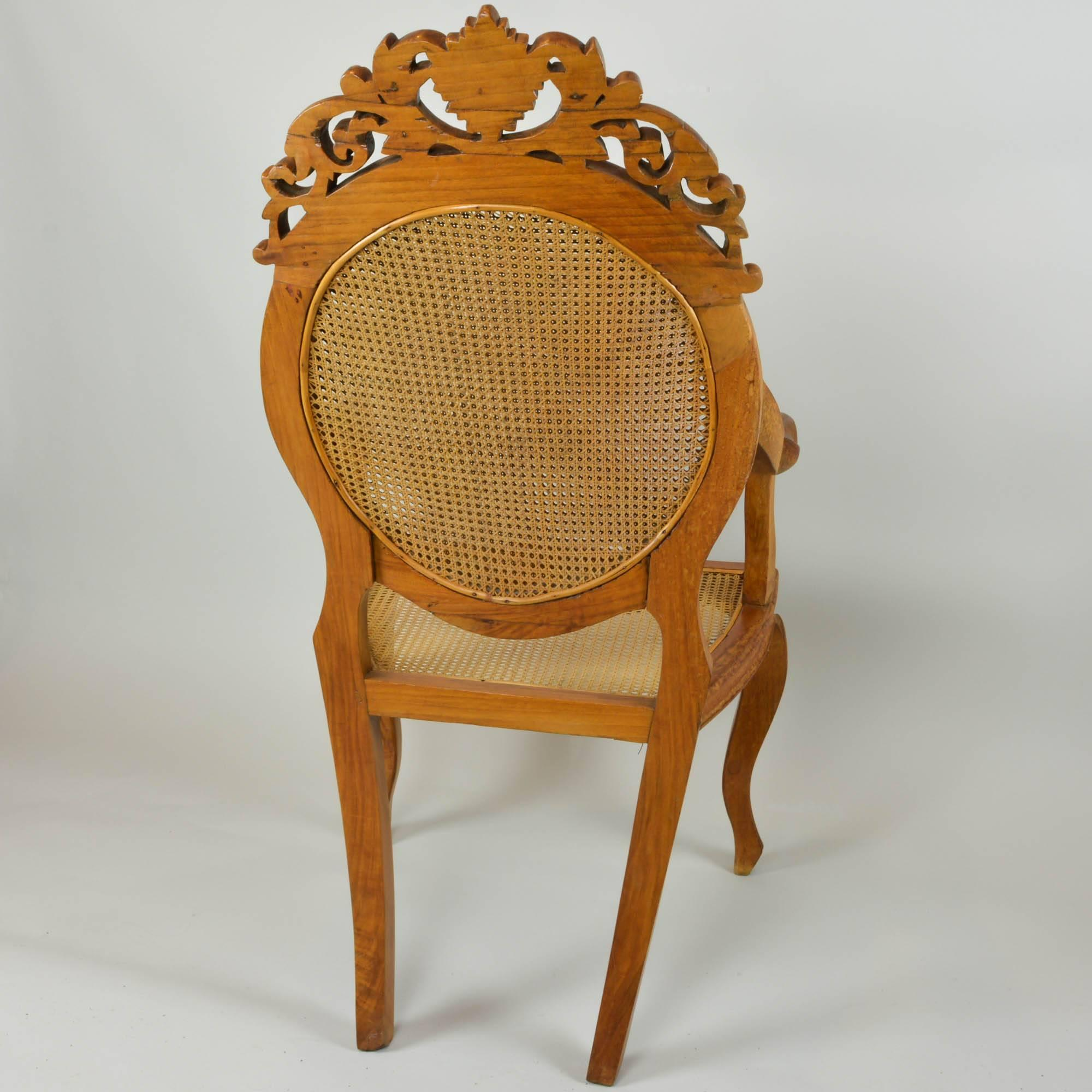 Vintage Accent Chair Vintage Carved Accent Chair With Caned Seat And Back