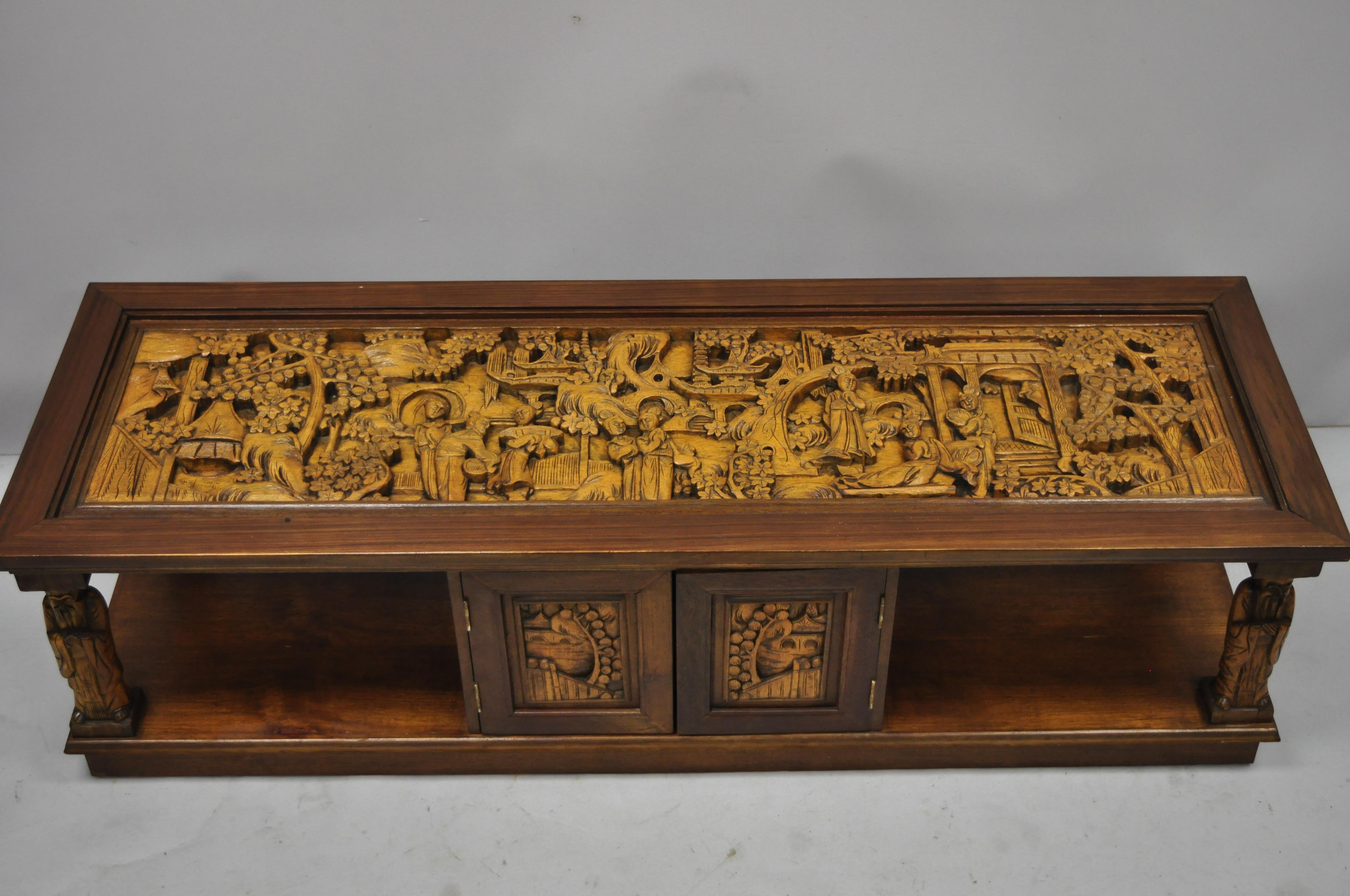 vintage carved oriental asian figures coffee table cabinet old chinese wiseman