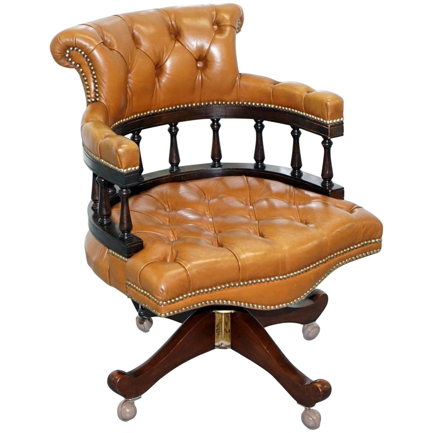 brown swivel chair high floor mat nz vintage chesterfield tan leather captains directors office for sale