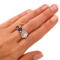 Vintage Diamond Ruby Platinum Band Cocktail Ring For Sale ...
