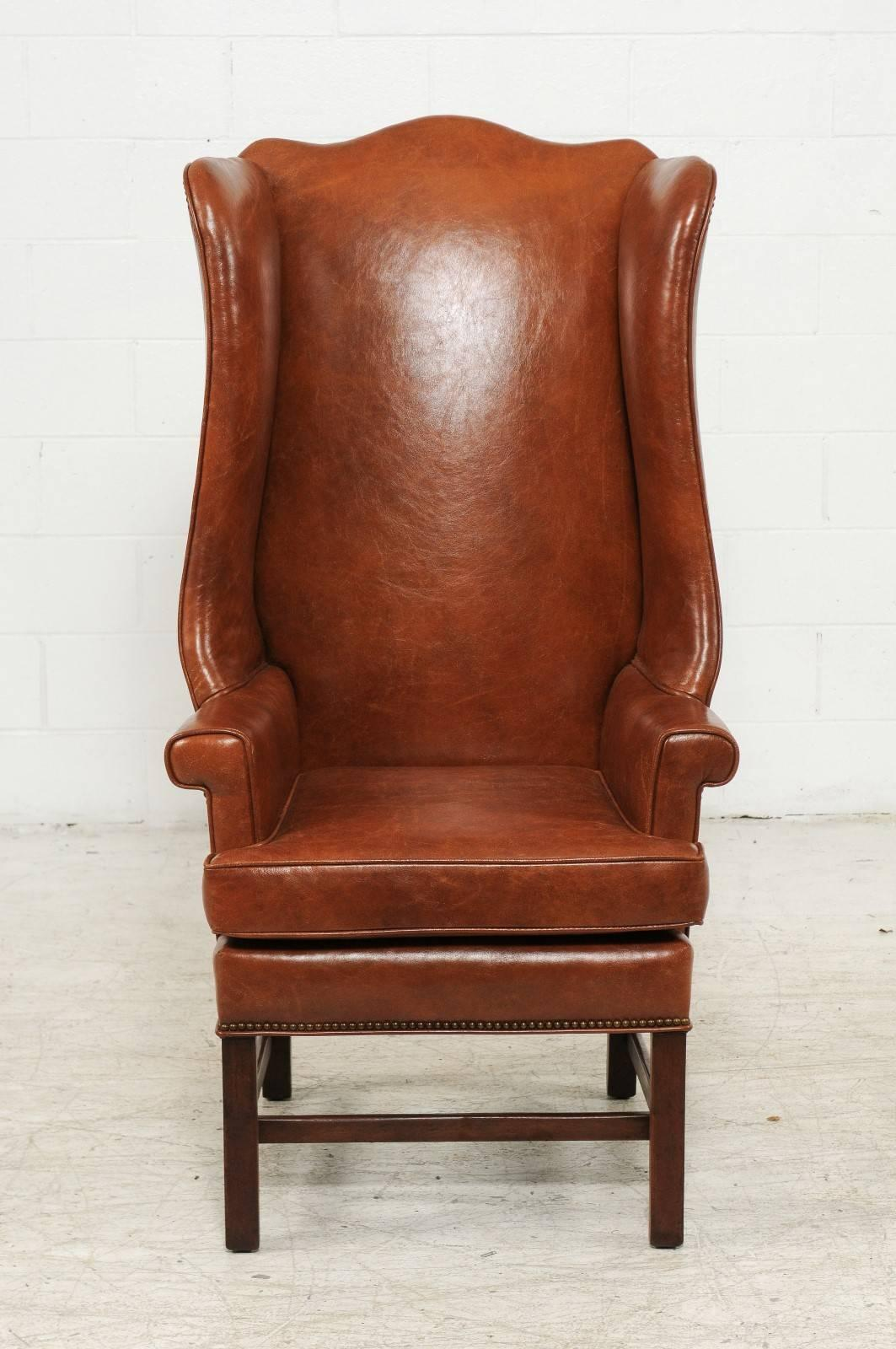 Brown Leather Wingback Chair Vintage English Midcentury Brown Leather Wingback Chair With Brass Nailhead Trim