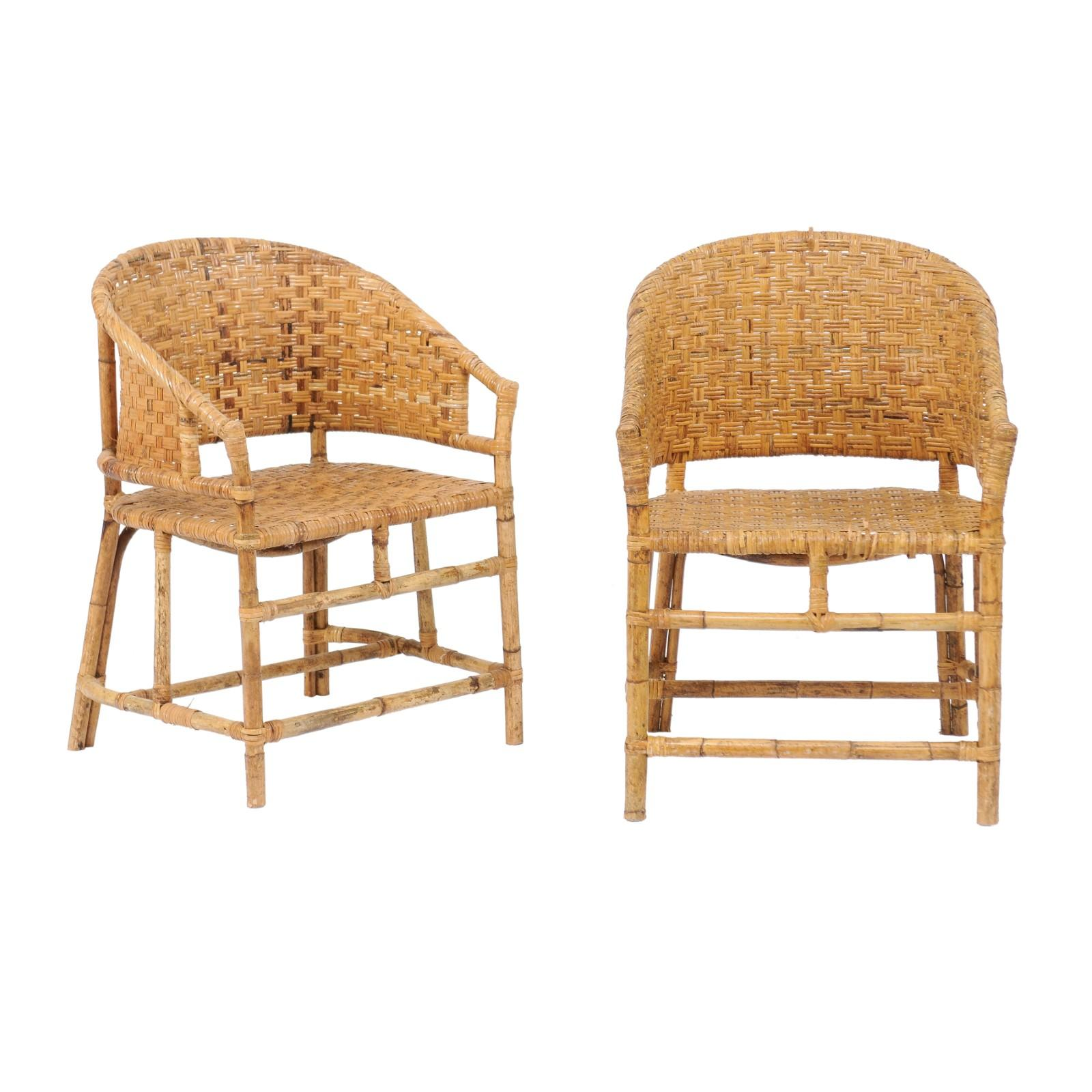 Bamboo Chairs Vintage French Midcentury Woven Rattan And Bamboo Chairs