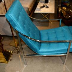 Turquoise Lounge Chair Steelcase Pollock Vintage And Ottoman Redone In For Sale At 1stdibs A Nice Chrome The Have Been