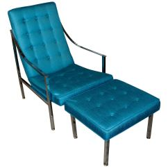 Turquoise Lounge Chair Stand Test Hd Images Vintage And Ottoman Redone In For Sale At 1stdibs