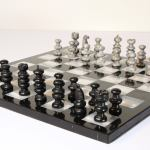 Vintage Marble Chess Board With Hand Carved Black And White Onyx Chess Pieces At 1stdibs
