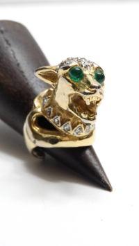 Vintage Medieval Panther Cocktail Ring For Sale at 1stdibs