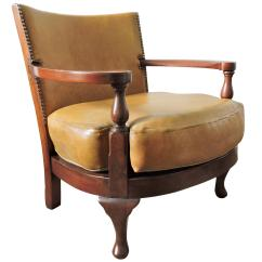 Tub Chair Brown Leather Folding Table And Chairs Vintage Mustard Yellow Wood For Sale At 1stdibs