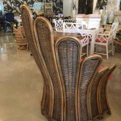 Fan Back Wicker Chair Z Gallerie Vintage Rattan Peacock Arm And Ottoman American Footstool Upholstered For Sale
