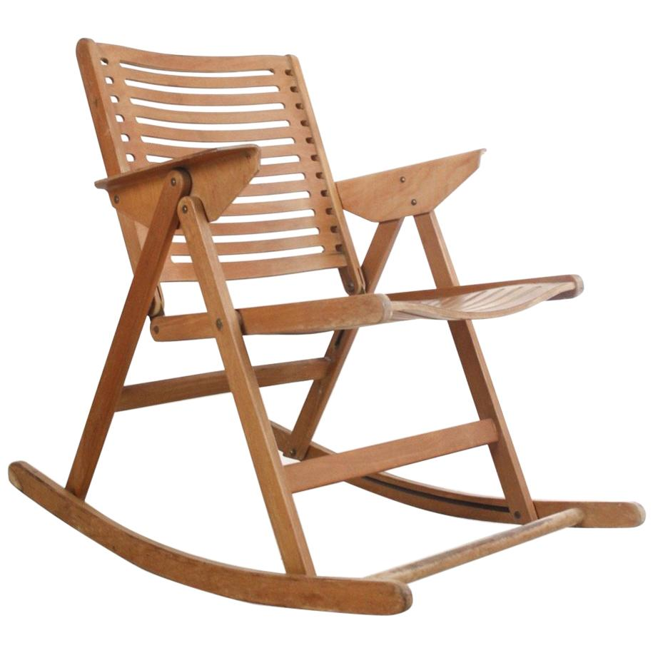 folding rocking chair wood restaurant tables and chairs used vintage rex by niko kralj 1950s for sale at 1stdibs