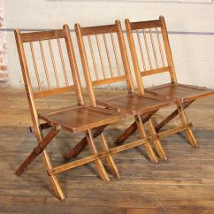 Brown Wooden Folding Chairs Slip Chair Covers Vintage Set Of Three Tandem Stadium Seats Bench For Sale At 1stdibs