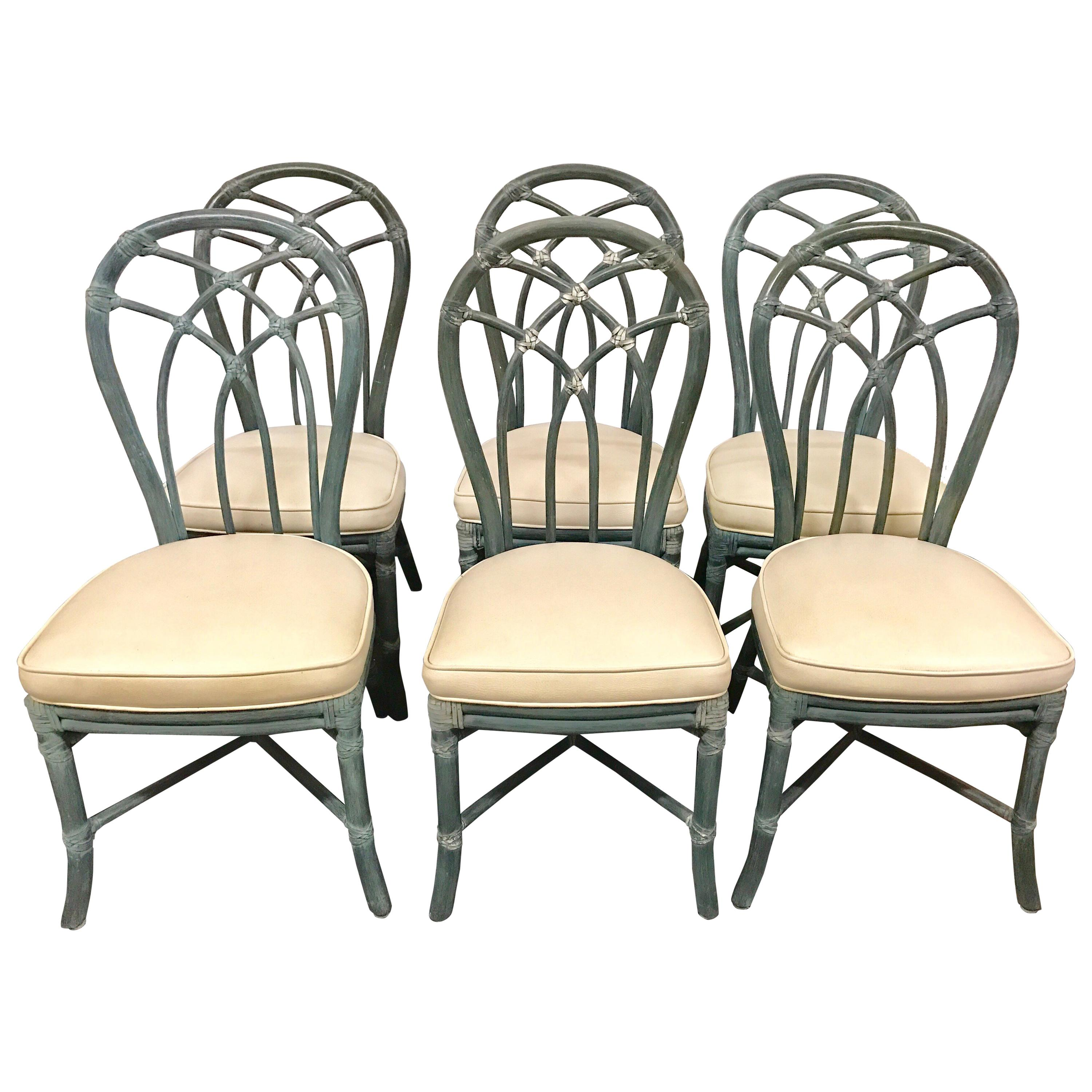 bamboo dining chair bar tables and chairs vintage signed mcguire furniture set of six for sale