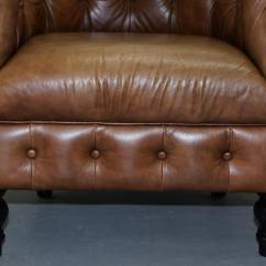 Brown Leather Tub Chair With Footstool Solid Gold Wheelchair Vintage Tan Chesterfield Buttoned Club Armchair Wood Legs At 1stdibs