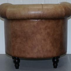Tub Chair Brown Leather Best Hunting Blind Vintage Tan Chesterfield Buttoned Club Armchair Wood Legs For Sale 7