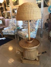 Vintage Tropical Wicker Turtle Side End Table Floor Lamp ...
