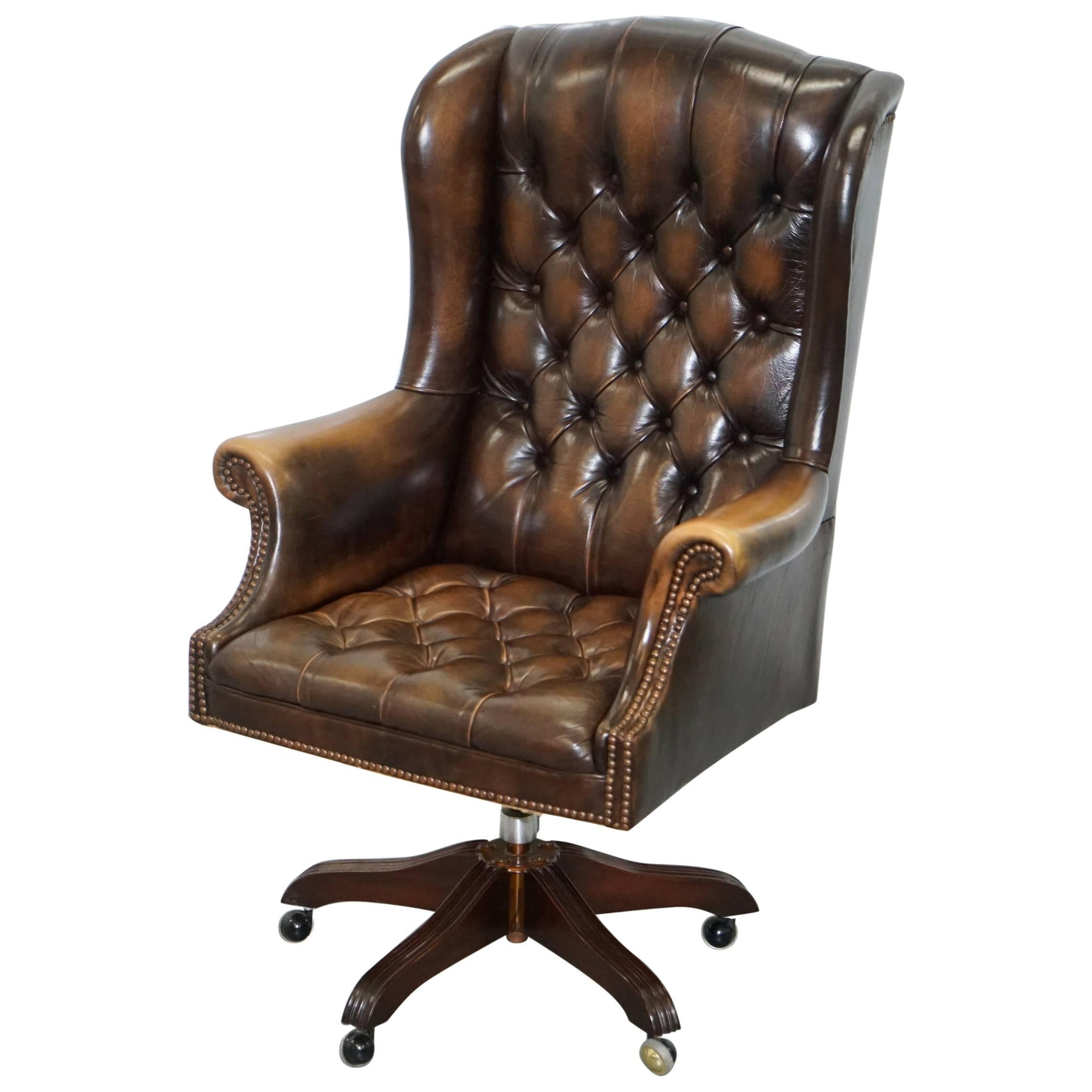 desk chair brown leather massager vintage wade chesterfield captains wingback office hand dyed for sale