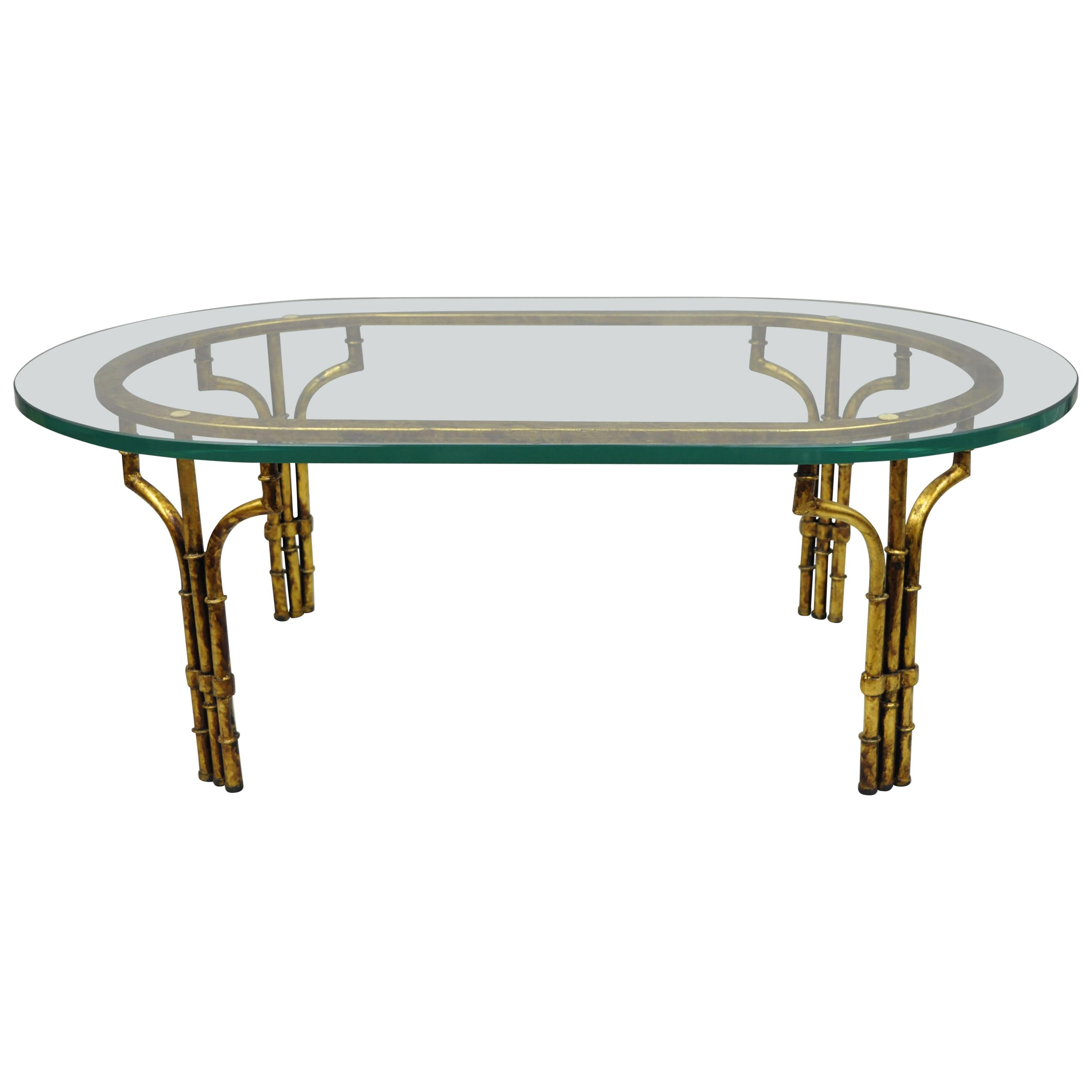 italian hollywood regency faux bamboo oval glass gold gilt iron coffee table