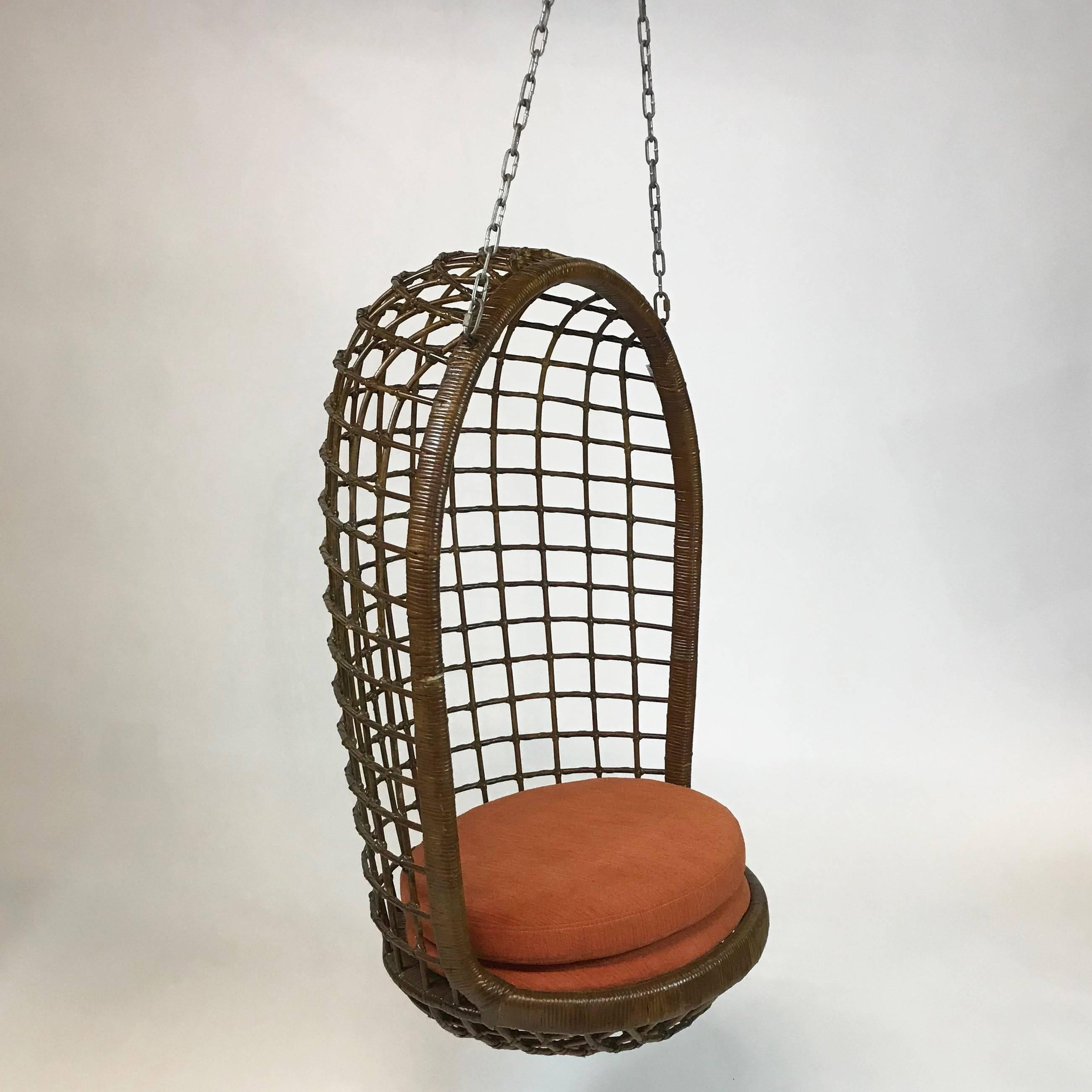 Wicker Egg Chairs For Sale Mid Century Woven Rattan Hanging Egg Chair